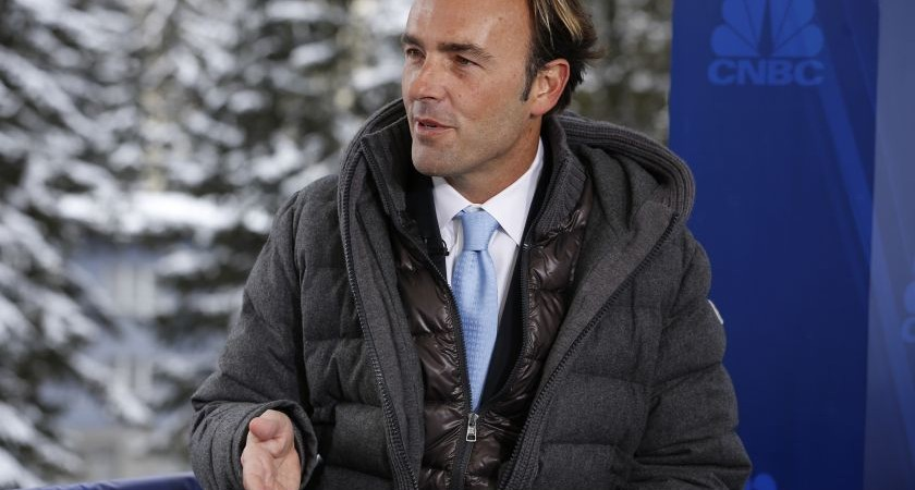 SQUAWK BOX -- Pictured: Kyle Bass, founder and principal of Hayman Capital Management, L.P., in an interview at the World Economic Forum in Davos, Switzerland, on January 23, 2015 -- (Photo by: David A. Grogan/CNBC/NBCU Photo Bank via Getty Images)